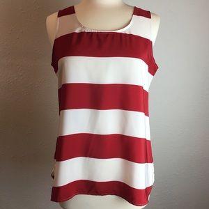 LOFT red & white striped sleeveless top